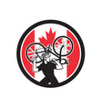 canadian bike mechanic canada flag icon vector image vector image