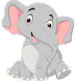 cartoon funny elephant sitting isolated vector image vector image
