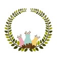colorful arch of leaves with pastel flowebud vector image vector image