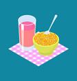 corn porridge and fruit juice breakfast healthy vector image