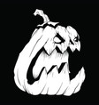 creepy pumpkin white pattern on a black vector image vector image