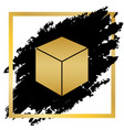 cube sign golden icon at vector image