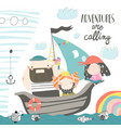 cute dad and kids sailing at their ship vector image