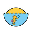 cute seahorse isolated icon vector image