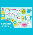 dental set with healthy teeth vector image