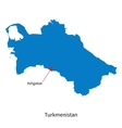Detailed map of Turkmenistan and capital city vector image vector image