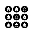 drop on black round icons set vector image vector image