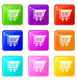 empty plastic market trolley icons 9 set vector image vector image