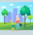 family leisure in city park mom and son vector image vector image