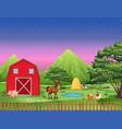 farm landscape at night vector image
