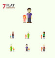flat icon people set of father grandma grandpa vector image vector image