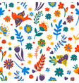 flowers and foliage with flying birds seamless vector image