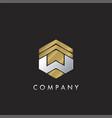 geometrical hexagon w letter with arrow up logo