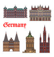 german tourist sight and travel landmark icon set vector image