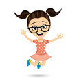 girl with glasses in a jump vector image vector image