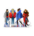 girls in winter outer clothing in a flat style vector image