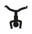 gymnast man is standing on his head sign vector image
