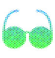 halftone blue-green spectacles icon vector image vector image