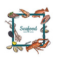 hand drawn seafood elements flying vector image vector image