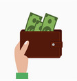 hand holding wallet with money vector image vector image