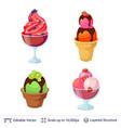 ice cream refreshing desserts set vector image vector image