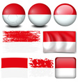 Indonesia flag on different items vector image vector image