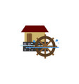 isolated watermill flat icon wheel element vector image