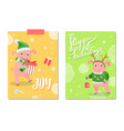 joy and happy holidays greeting cards 2019 vector image vector image