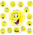 lemon cartoon with many expressions vector image vector image