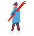 male character with skiing equipment for sports vector image