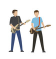 male characters play on electric and bass guitars vector image vector image