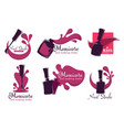manicure salon or nail studio isolated icons vector image vector image