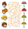 maze game little girls and umbrellas vector image vector image