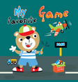 my favorite game animal cartoon art vector image