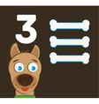 Number 3 - Dog with three bones vector image