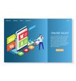 online sales website landing page design vector image vector image