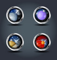 planets set steely rounded badge icon for uigame vector image