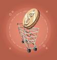 retro shopping cart dollar coin money vintage vector image