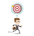 Running Businessman thinking about hitting the vector image vector image