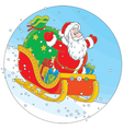 Santa Claus sledding with gifts vector image vector image