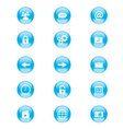 set blue and white circular buttons vector image vector image