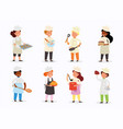 set diverse colorful people cooking food vector image