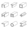 set line icon steel pipe and beam product vector image