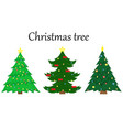 set of 3 christmas trees with decoration vector image vector image