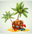 travel suitcase on beach with palms vector image