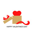valentines day card with heart in box gift vector image