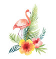 watercolor card of tropical leaves and the vector image vector image