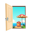 welcome to beach cartoon template vector image vector image