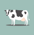 white cow with black stripes on a blue backdrop vector image