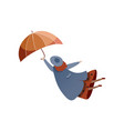 woman flying with umbrella windy weather autumn vector image